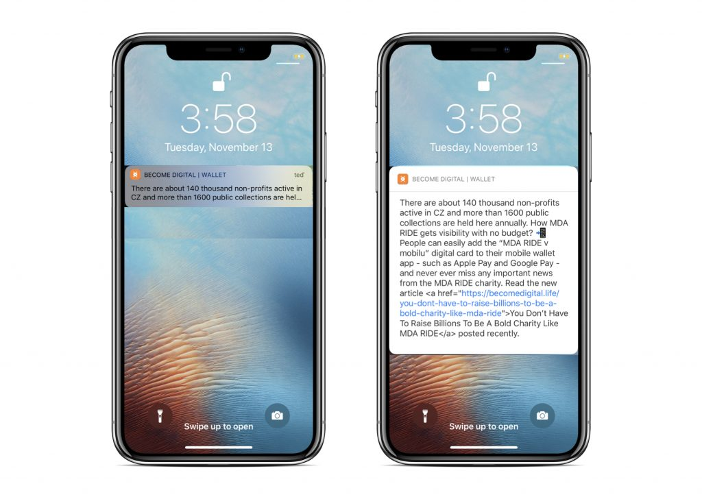 You receive a push notification directly onto your mobile phone lock screen